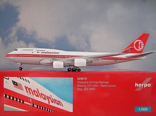 Herpa Wings 1:500 boeing 747-400 Malaysian 9m-mpp 529679 modellairport 500