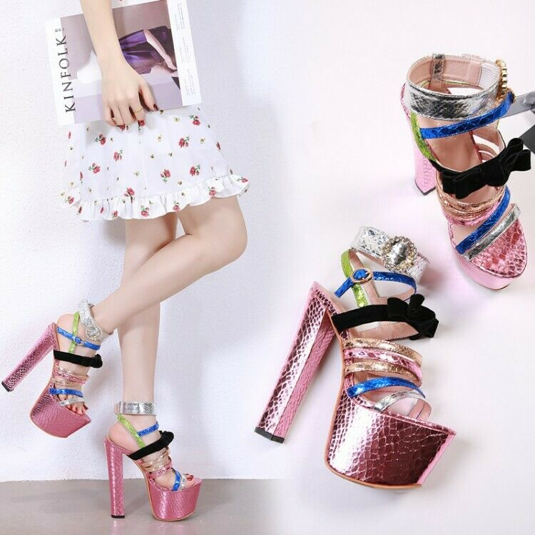 6.6'' Super High Heels Womens Multi-color Peep Toe Sexy Nightclub Platform shoes