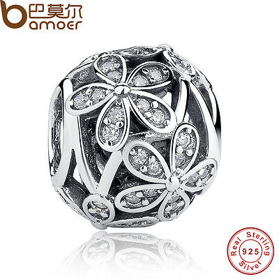 Ancient S925 Sterling Silver Charm With Hollow Flowers Fitting European Bracelet