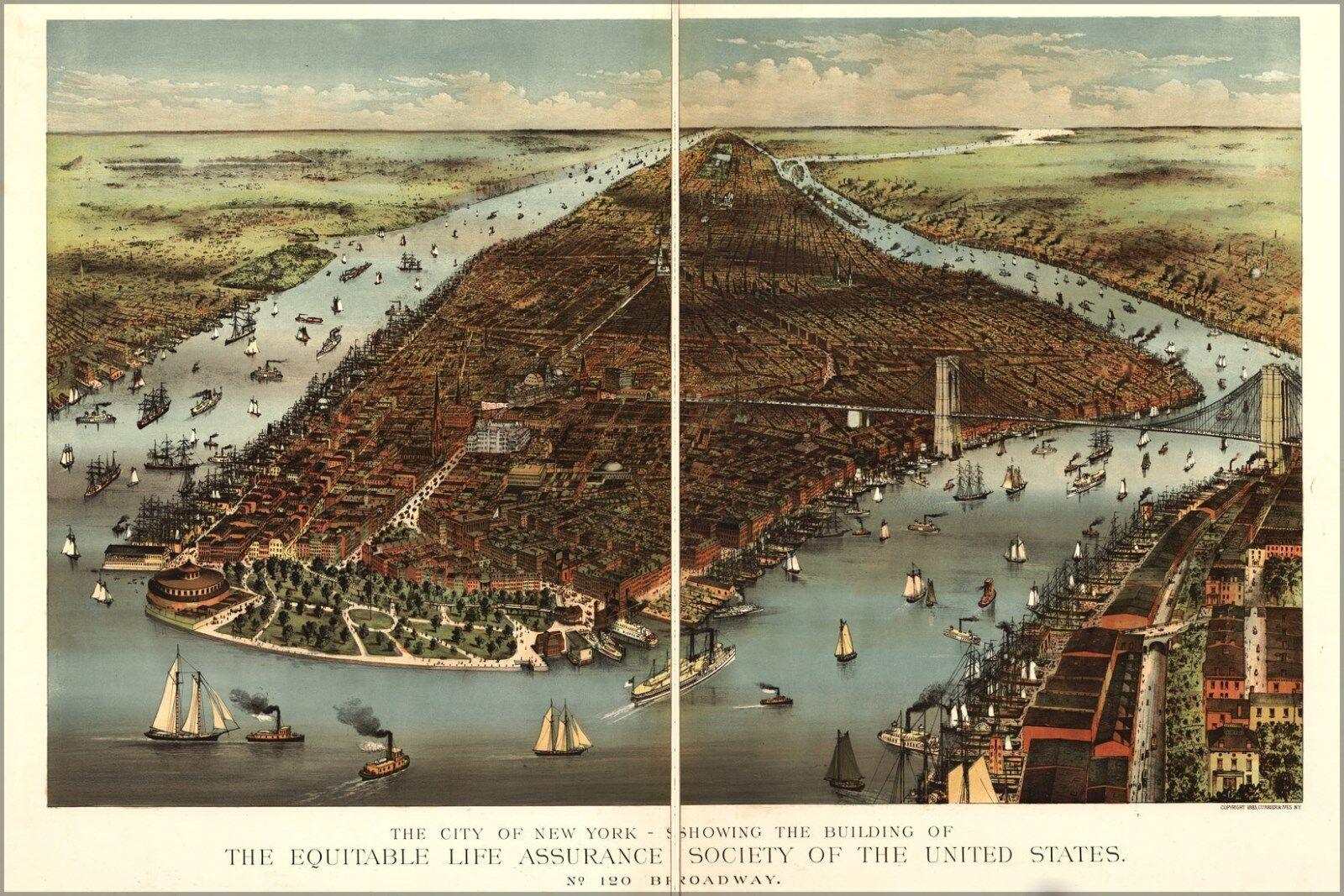 Plakat, Viele Größen; Karte von City Of New York 1883