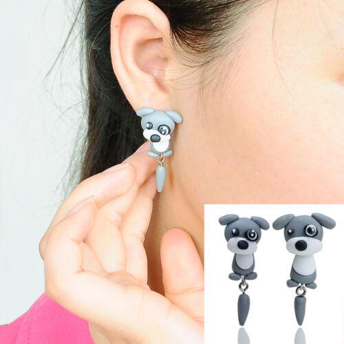 LP 1Paar Damen Ohrschmuck Ohrhänger Ohrringe Grau Hund Kartoo Polymerclay Mode