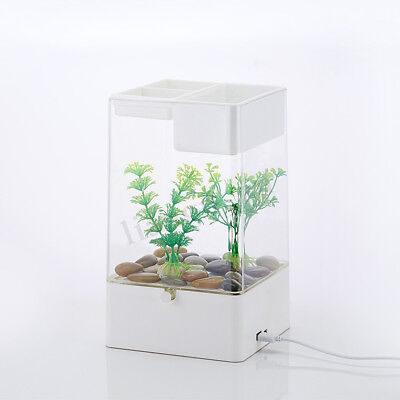 aquarium miniaquarium desktop aquarien led licht usb filteranlage ebay. Black Bedroom Furniture Sets. Home Design Ideas
