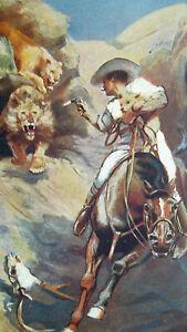 HUNTING-LIONS-Captain-Shooting-Riding-Horse-1904-COLOR-Art-Nouveu-Era-Print
