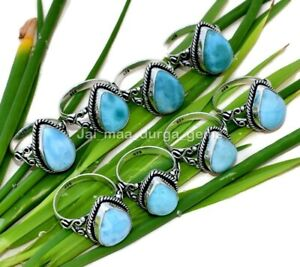 10 Pcs Natural Stone Larimar Pear 925 Sterling Solid Silver Jewelry Ring SR-2