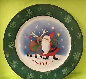 Image is loading Melamine-Dinnerware-Christmas-11-034-Dinner-Plate-Santa- & Melamine Dinnerware Christmas 11