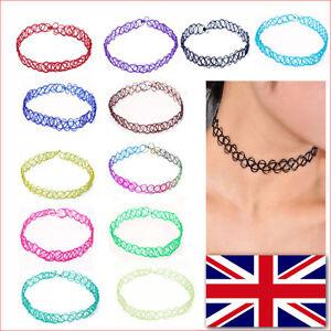 2PCS-Tattoo-Choker-Stretch-Elastic-Necklace-Black-Henna-Retro-Gothic-Boho-Lace