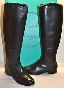 New $298 Jack Rogers Lisbeth Black Leather Boot Tall/Riding sz 6.5