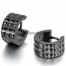 2PCS Cool Men's Black Stainless Steel 7mm Hoop Huggie Ear Studs Plug Earrings