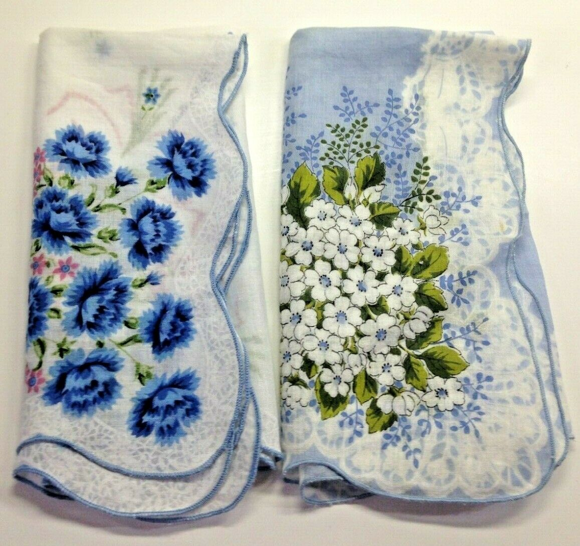Lot of 2 Blue Floral Vintage Handkerchief MCM Scallop Hankie