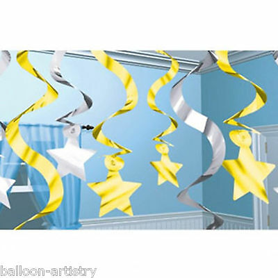 15 Hollywood Party Silver Gold Foil Stars Hanging Swirls Decorations