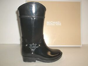 de1e169f7eda7 Michael Kors Size 5 Brea Fulton Black Rubber Rain Boots New Girls ...