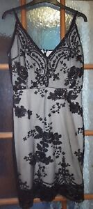 Ladies-Parisian-Black-Embroidered-Dress-Size-12-Christmas-Party