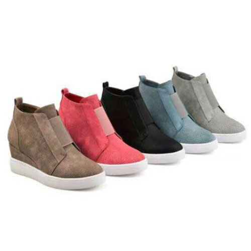Women Hidden Wedge Mid Heel Ankle  Sneakers Trainers High Shoes Size 6-10.5
