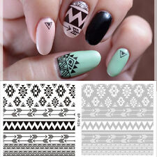 Black Tribal Nails Summer Nail Art Decals Water Transfers Wraps Stickers Y150