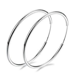 925-Silver-Big-Large-Round-Circle-Ear-Hoop-Women-039-s-Earring-Wedding-Jewelry-Sexy