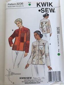 Kwik-Sew-Pattern-3236-Misses-Jacket-Blazer-Optional-Applique-XS-XL-Uncut