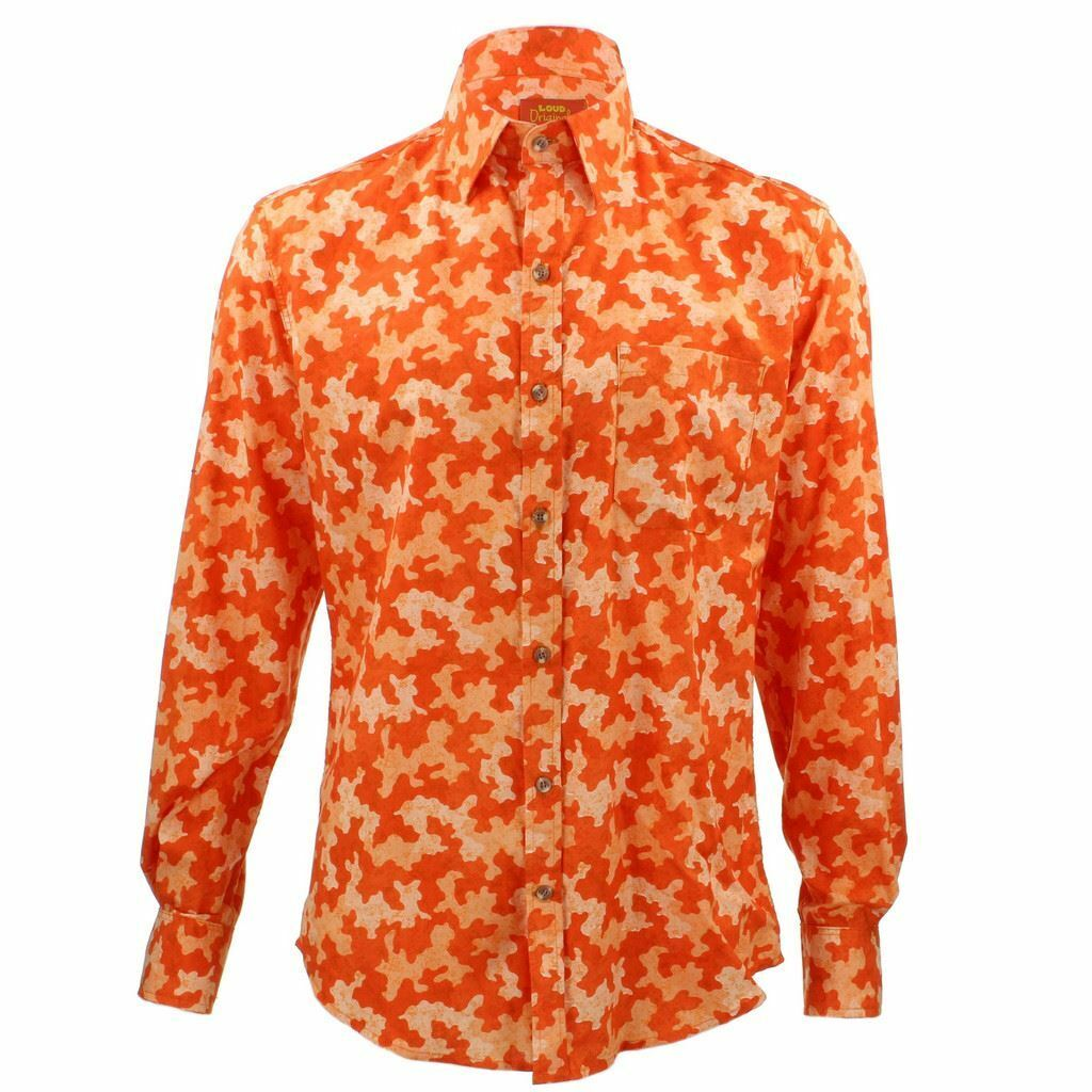 Mens Loud Shirt Retro Psychedelic Funky Party TAILORED FIT Camo orange