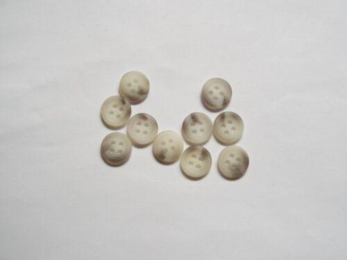 10pc 11mm White Grey Mock Horn Suit Shirt Cardigan Knitwear Button 4381