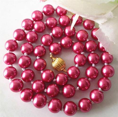 """Nouveau Rose 8 mm Mer Rouge Du Sud Coquille Perle Collier 18/"""" AAA"""