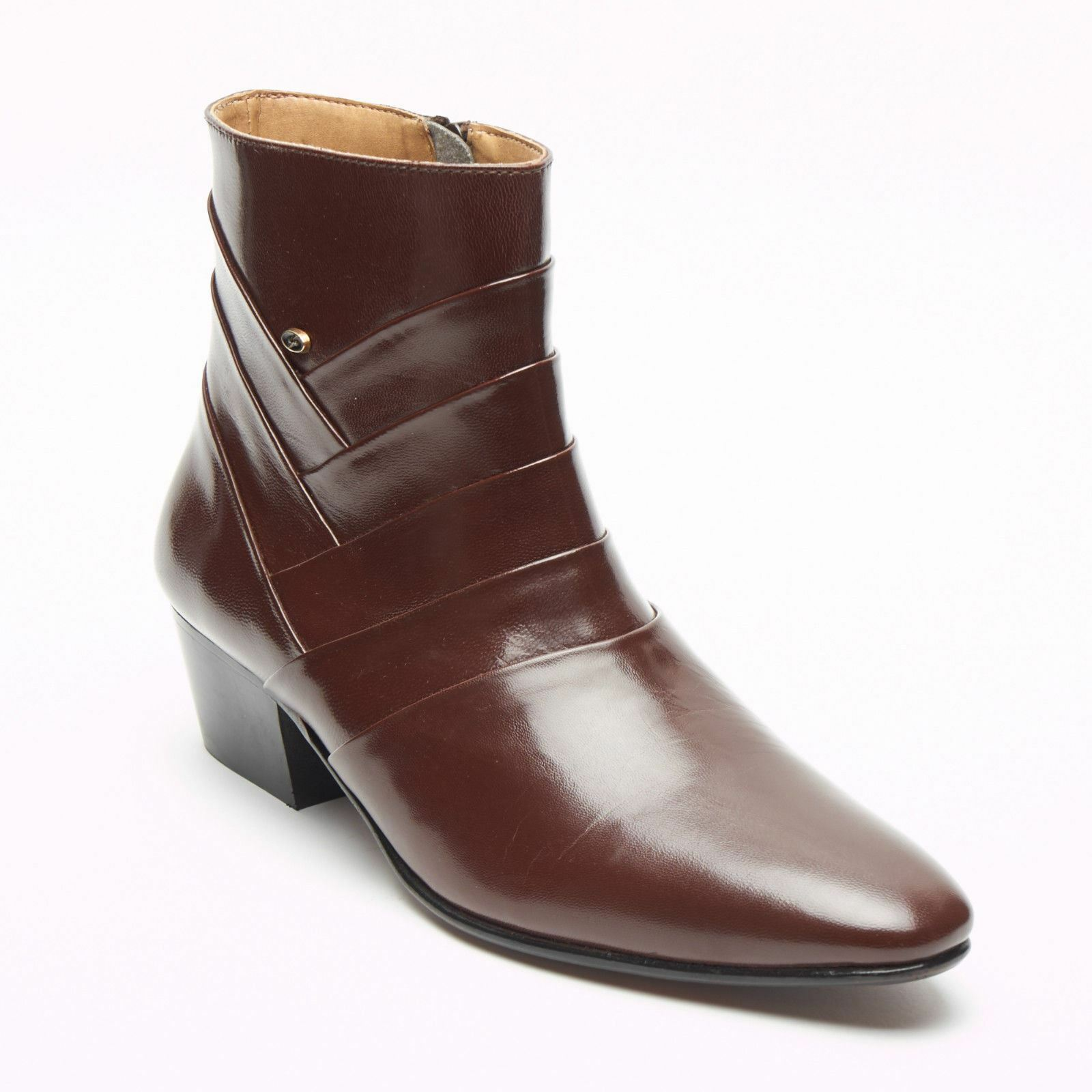 Mens Formal Lucini Leather Cuban Heel Brown Wedding Ankle Boots Zip Up