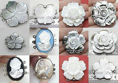 3rows mother of pearl shell flower sculpture metal clasp for necklace Making DIY