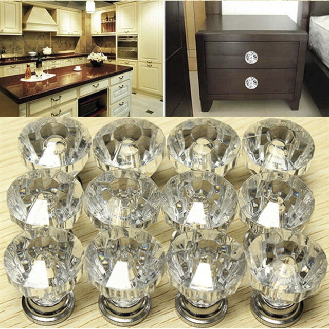 12x Crystal Glass Door Knobs Drawer Cabinet Furniture Kitchen Handle Quality