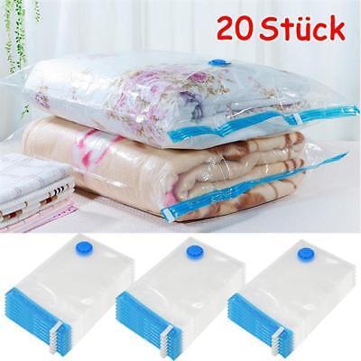 20X Vakuumbeutel Vakuum Aufbewahrung Kleiderbeutel Wiederverwendbar 3 Größen DPD
