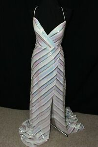 NWT LaFemme 28717 White multi Size 2 net sequins pageant prom gown, Size 2