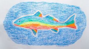 "REDFISH GYOTAKU FISH RUBBING, ORIGINAL, 24"" X 32"""