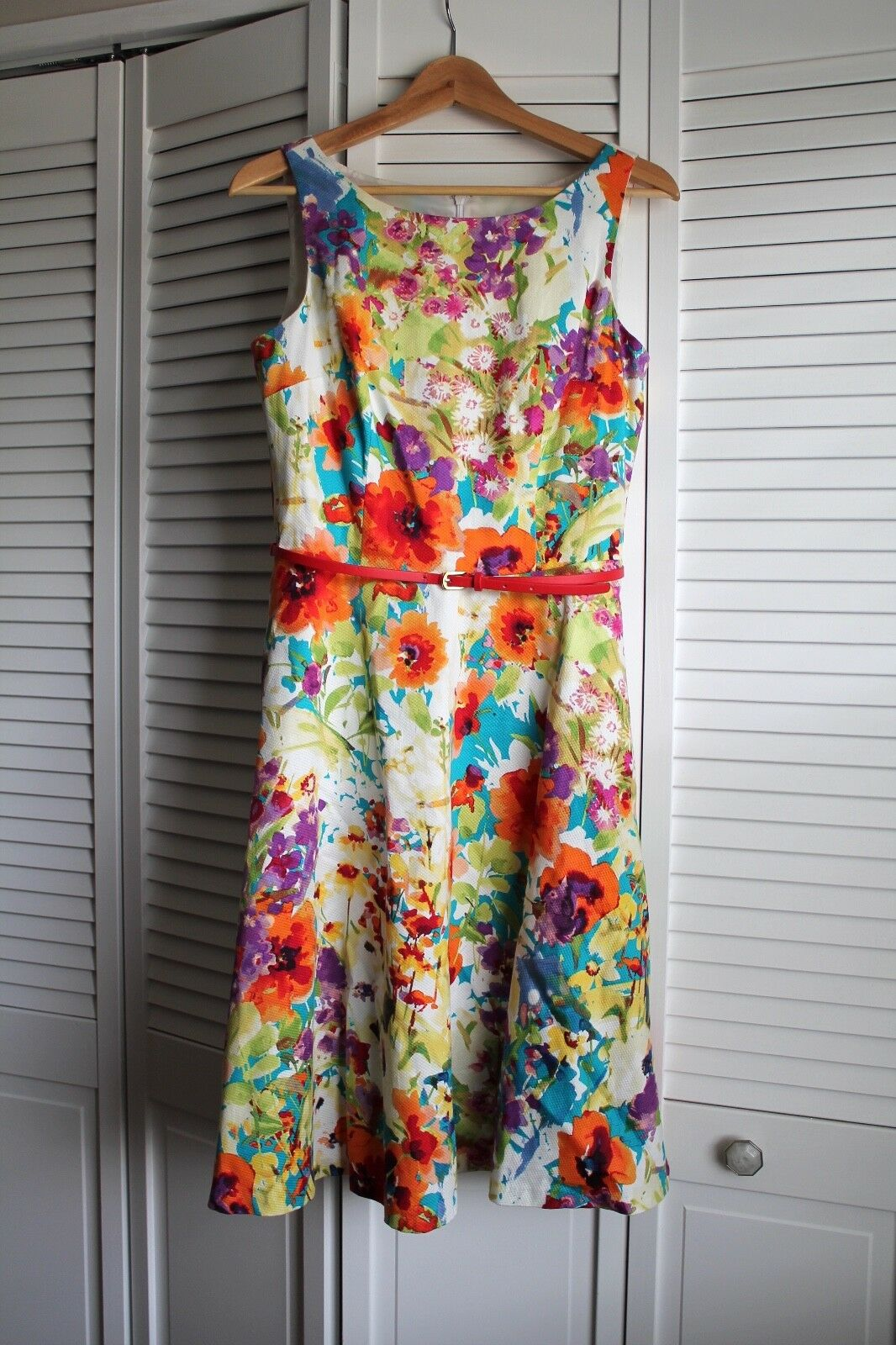 EVAN PICONE FLORAL BELTED DRESS - SIZE 6