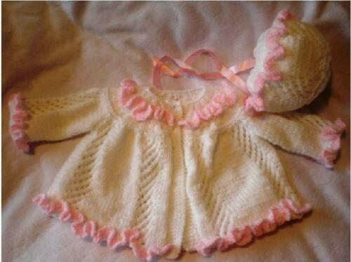 BABY OR REBORN RUFFLES AND LACE COAT /& BONNET KNITTING PATTERN