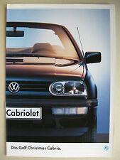 Prospekt VW Golf 3 Cabriolet CHRISTMAS Cabrio Modell 1994 1995