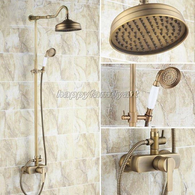 Antique Bronze salle de bains pluie Douche robinet Set une poignée Mitigeur yrs204