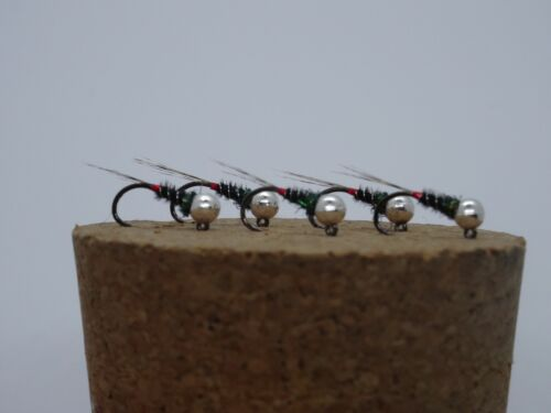 5 French Jig Nymphs Tungsten Beaded Nymphs Size 16 Silver 3.0mm Barbless