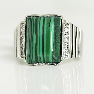 Mens Malachite Ring Stainless Steel CZ & Black Epoxy Lines Black Green Simulated