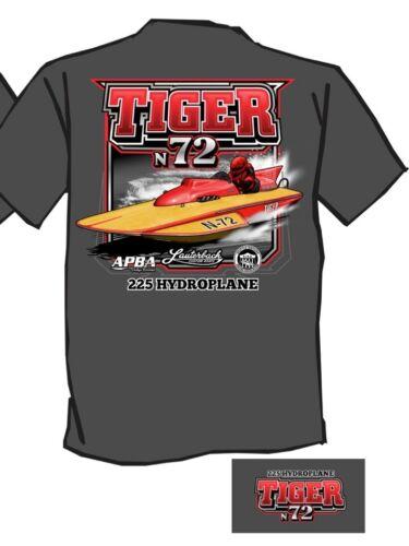 New Tiger N-72 Lauterbach Vintage Hydroplane Shirt /& Boat Info Card