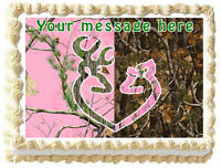 Pink Camo Tree Buck And Doe Edible Image Cake Topper Decoration