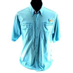 a7d06f529c0 Men's Columbia Size L Light Blue PFG Vented Fishing Shirt Short ...