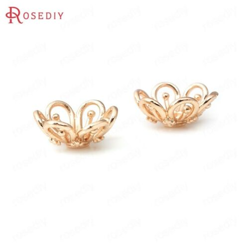 10PCS 14MM Quality Champagne Gold Color Brass Flower Beads Caps 31992