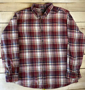 Eddie-Bauer-Flannel-Mens-XL-Relaxed-Fit-Red-Plaid-Long-Sleeve-Button-Up-Shirt