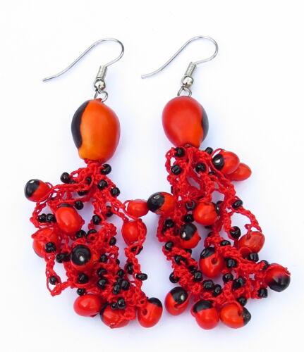 Alubias suerte de naturaleza aretes joyas pendienohrhänger señora rojo hippie Boho nuevo