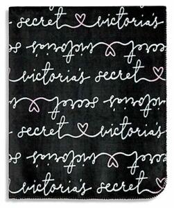 Victoria-Secret-VS-Soft-Cozy-Plush-Black-Signatue-Logo-Love-Stadium-Blanket-NEW