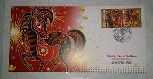 Zodiac-Lunar-New-Year-2014-Horse-FDC-Gibraltar-2v-Stamp