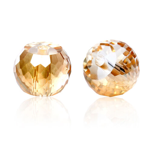 30 Glas Perlen Rund Champagner Transparent Facettiert Beads zum Basteln 8mm