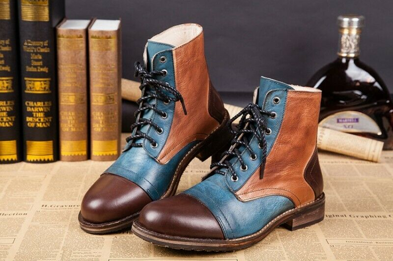 Men's Real Leather Boots Lace Up Assorted colors High Top Round Toe shoes hk15