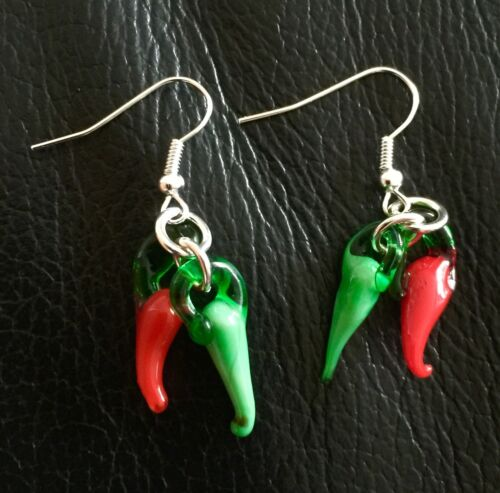 Red Hot /& Green Chilli Pepper Doble Aros Colgantes Rockabilly Vintage Steampunk