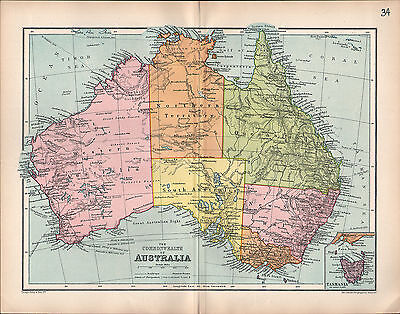1903 Landkarte Australia Queensland Neu South Wales Victoria