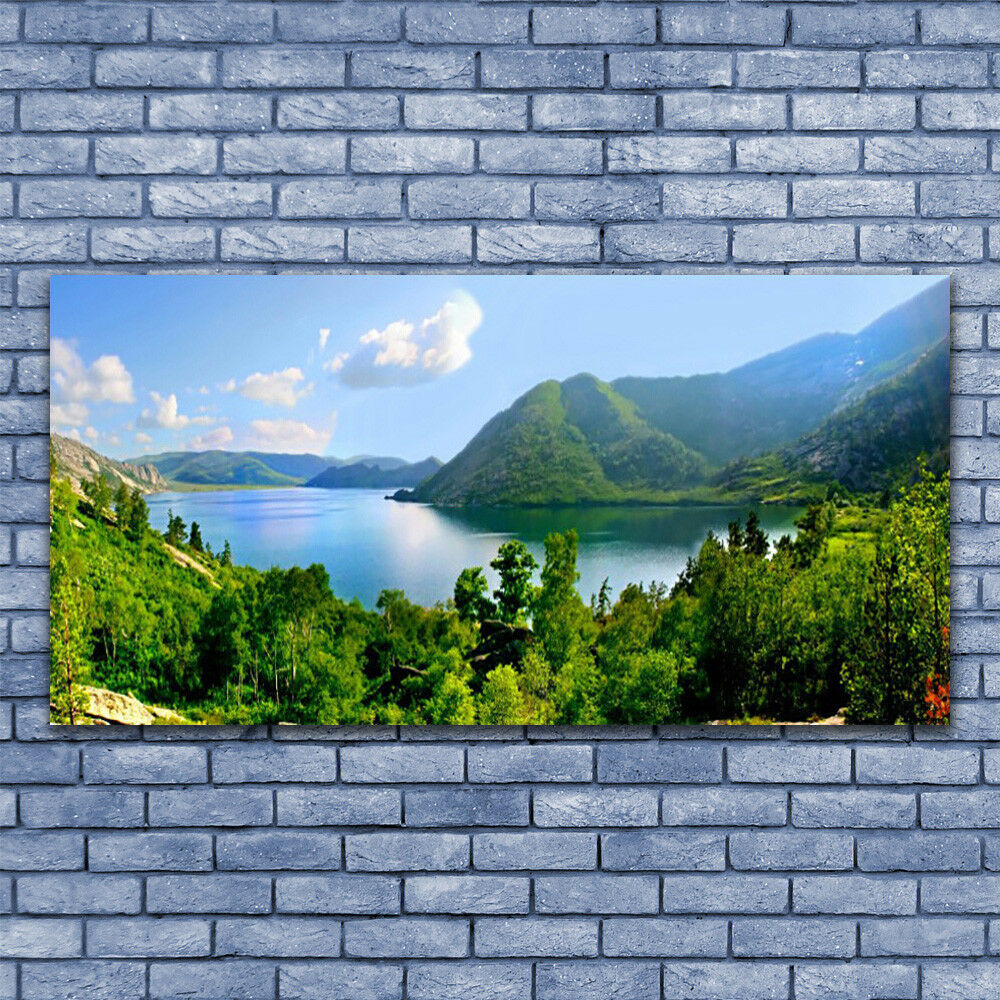 Glass print Wall art 140x70 Image Picture Forest Lake Mountains Landscape