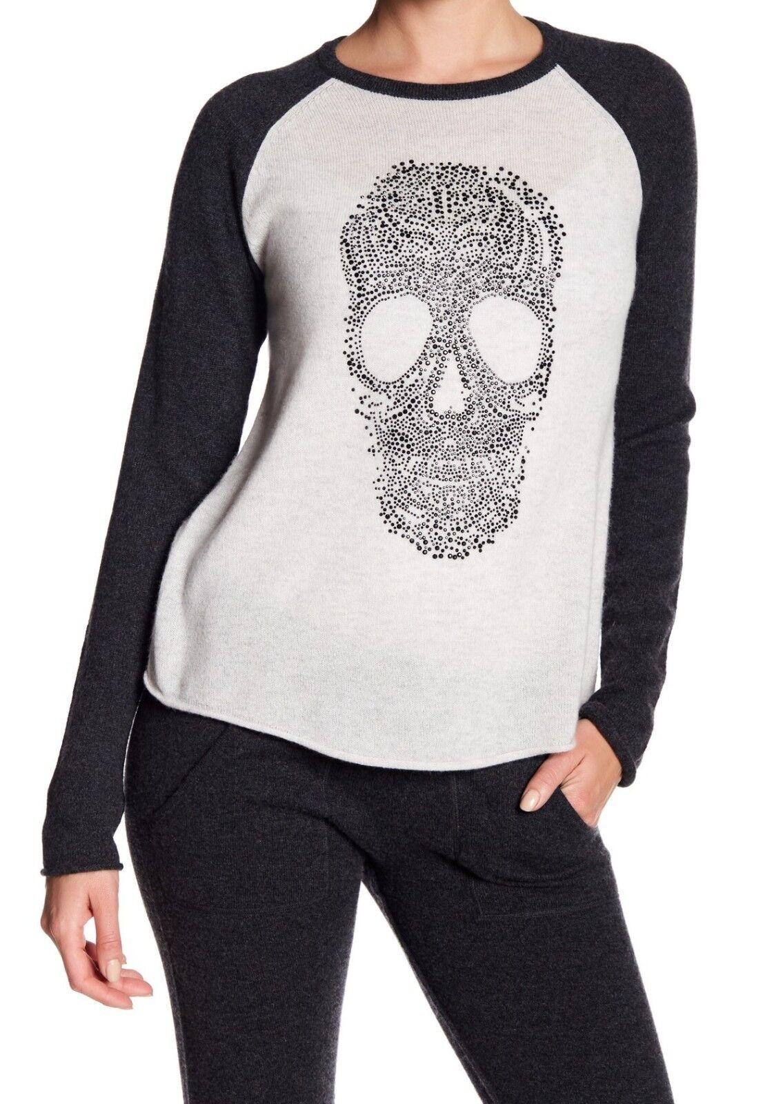 NWT 27 Miles Miles Miles Malibu Patricia Beaded Skull Cashmere Sweater White-Charcoal  242 33e2c8