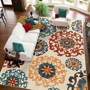 Elegant Area Rug Turquoise Orange Ivory Dynamic Design
